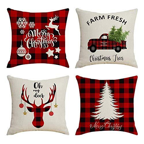 JujubeZAO Weihnachts-Kissenbezug, Weihnachtsbaum, Auto, Elch, Leinen, Kissenbezug, Sofa, Schlafzimmer, Auto-Dekoration für Zuhause 4pcs -