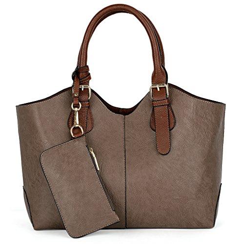 37e16b6c7f5af ... UTO Damen Handtasche Set 3 Stücke Tasche PU Leder Shopper klein  Schultertasche Geldbörse Trageband blau Schlamm