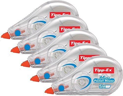 5er Sparpack Tipp-Ex Korrekturroller Mini Pocket Mouse, 5 mm x 5 m, Blister à 1 Stück, weiß
