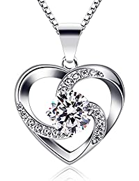 "B.Catcher Women Necklace 925 Sterling Silver ""Crazy Love"" Pendant Necklaces with 18inch Box Chain"