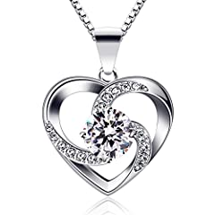 Idea Regalo - B.Catcher regalo di San Valentino per collana da donna, in argento Sterling 925 con ciondolo Crazy Love con lunga 45,7 cm inclusa