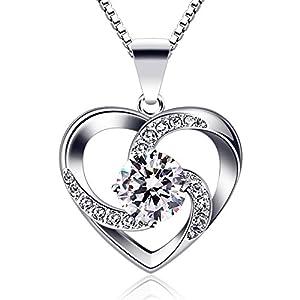 """B.Catcher Kette Herz Damen Halskette 925 Sterling Silber Anhänger """"Liebe ist Das Glück"""" Schmuck Zirkonia 45CM Kettenlänge Geschenk für Damen"""