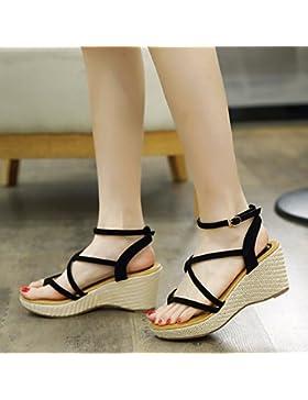 KPHY-La versión coreana de la nueva sandalias sandalias puso el pie femenino Roma ranurado antideslizamiento atar...