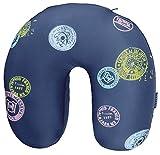 moses. Fernweh Nackenkissen in blau für Reisen | 2-in-1 Nackenhörnchen und Kopfkissen | Kissen mit Stamp Motiv