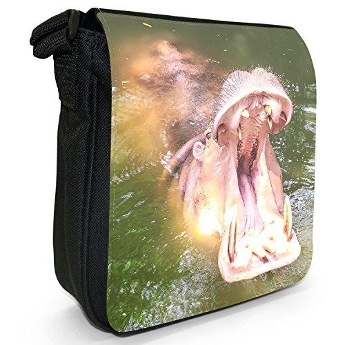 Ippopotamo ippopotamo-Borsa a tracolla in tela, piccola, colore: nero, taglia: S Nero (Hippo Yawning Mouth Wide Open)