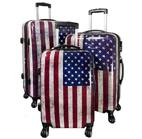 Alto Trolley-Koffer-Sets - Vari Motivi - 3-teilig - 74+64+54 cm - 4 Rotoli - Guscio Duro - Stati Uniti, 74+64+54cm