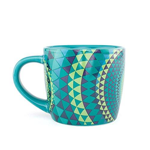 bodhi YogiMug Keramiktasse Blue Mandala (blau-grün), Tee-Tasse mit OM-Design-Print für Fans der indischen Yoga-Philosophie