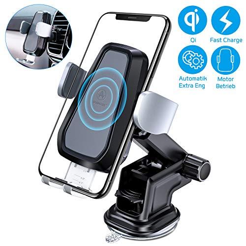VANMASS Wireless Charger Auto Handyhalterung Automatisch Motor Betrieb 10W Kfz Induktive Ladestation 2 in 1 LED mit Lüftung & Saugnapfshalter für Phone XS/X/8P Galaxy S9 / S8 und andere Qi Fähige