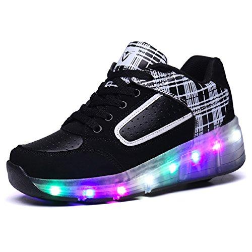 Erwachsene Kinder Schuhe Jungen und Mädchen Sportschuhe , Skateboard-Schuhe, mit LED-Leuchten blinken skateboarding Schuhe neutral Rad Rollschuhe mit Rädern Blau