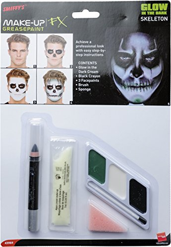 Smiffys 43964 Glow-in-the-Dark-Skelett-Make-up-Kit