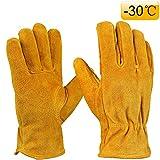 OZERO Arbeitshandschuhe, Rindlederhandschuhe mit warmem Futter für die Wärmerückhaltung der Hände während der Winterarbeit, 1 Paar