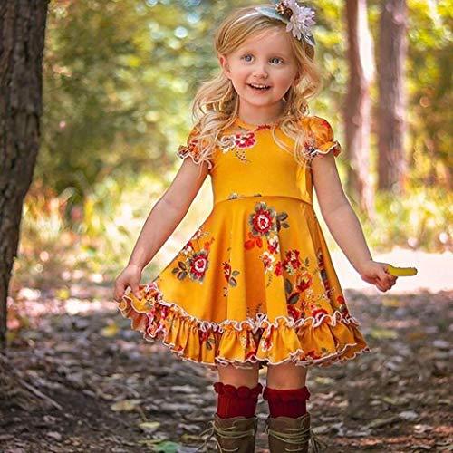 Mitlfuny Unisex Baby Kinder Jungen Zubehör Säuglingspflege,Kleinkind-Baby scherzt Mädchen mit Rüschen besetzte Rüschen-Blumenblumen-Prinzessin Dresses ()