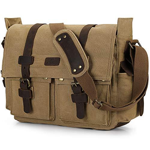 S-ZONE Vintage Canvas Leder Trim Abnehmbare Schulter Messenger Tasche Kameratasche für DSLR SLR-Kamera