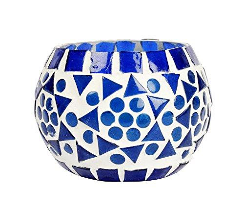 hnd00652 Indian Home décoratif mosaïque en verre vintage thé lumière bougie votive Yankee Candle Support 8 cm