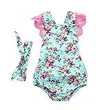 Combinaison de Bébé Fille Paolian, Été Baby Fille Romper Jumpsuit Floral Dentelle avec Bandeau (70/6Mois, Bleu)
