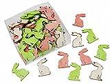 72 Stk. Hasen 4cm HOLZ weiss rosa grün Deko Osterhasen Häschen Basteln Osterdeko dekorieren Ostern Holzhasen