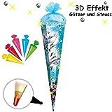 3-D Paillettenborte + Glitzer Effekt ! _ Set _ Schultüte + 5 kleine Zuckertüten -  Delfin - Fische & Unterwasser  - 85 cm - eckig - Organza Abschluß - Zucke..
