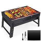 Fixget Barbecue Grill, Barbecue Carbone Portatile Pieghevole per BBQ all'aperto Giardino Terrazza Campeggio Picnic per 3-5 Persone