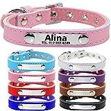 TagME Personalisierte Hundehalsbänder aus Leder/Weich Gepolstertes Hundehalsband/Löschen Sie Name, Telefonnummer und Mikrochipnummer/Für mittlere und große Hunde/Pink
