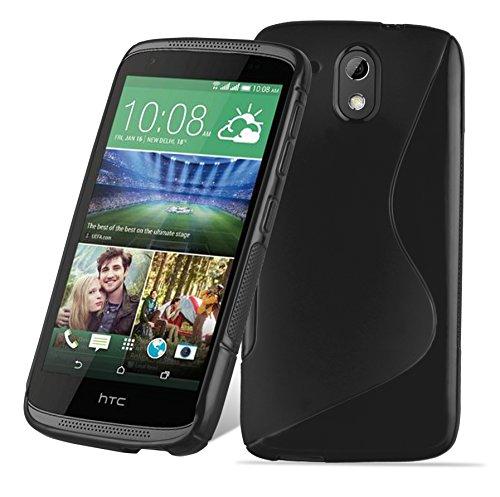 Cadorabo - TPU S-line Style Silikon Hülle für HTC DESIRE 526G - Case Cover Schutzhülle Bumper in OXID-SCHWARZ