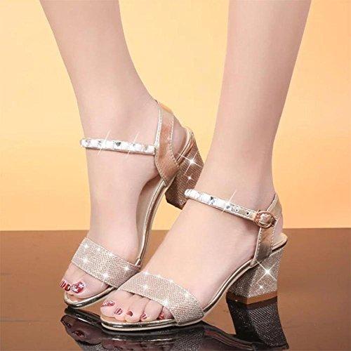 Sommer Sandalen vorne offen Schuhe mit hohen Absätzen mit dem Wort Schnalle dick mit Strass-Sandalen Frauen oro