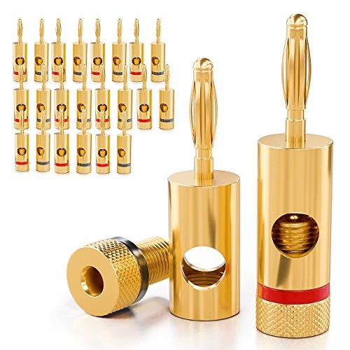 deleyCON 24x Bananenstecker 24K vergoldet und schraubbar für Kabel Boxen Verstärker AV-Receiver Endstufen HiFi Stereoanlagen