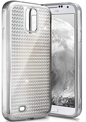 ONEFLOW Samsung Galaxy S4 | Hülle Glitzer Silber Silikon Shiny Back-Cover Silikonhülle Glitter Schutzhülle Ultra-Slim Case für Samsung Galaxy S4 / S IV Handy-Hülle Dünn Tasche (Bling Galaxy 4s Cases Phone)