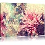 Romantische Blumen Pinsel Effekt, Format: 60x40 auf Leinwand, XXL riesige Bilder fertig gerahmt mit Keilrahmen, Kunstdruck auf Wandbild mit Rahmen, günstiger als Gemälde oder Ölbild, kein Poster oder Plakat