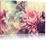 Romantische Blumen Pinsel Effekt, Format: 100x70 auf Leinwand, XXL riesige Bilder fertig gerahmt mit Keilrahmen, Kunstdruck auf Wandbild mit Rahmen, günstiger als Gemälde oder Ölbild, kein Poster oder Plakat