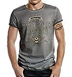 Körperbetontes Slimfit Biker Racer Trucker T-Shirt im Used Vintage Look: Motorcycle Brotherhood M
