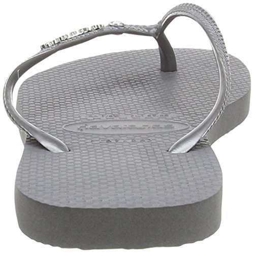 Havaianas Damen Slim Metal Logo and Crystal Sandalen Grau (steel Grey 5178)