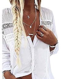 Moonuy Femmes à Automne manches longues V-Neck Stripe Mode Blouse T-Shirt  Blouse 2d448a9d3467