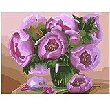 Huizheng DIY malen nach Zahlen Blumen rosa Rose acrylfarbe auf leinwand handgemalte ölgemälde für Wohnzimmer Wand 40x50 cmkeinRahmen