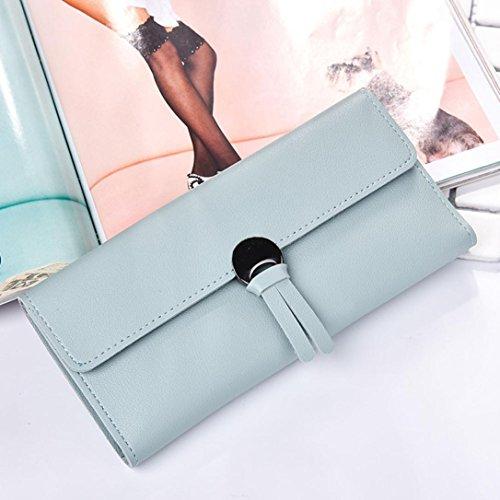 Portafoglio Donna, Tpulling Borsa lunga della borsa della frizione di svago di tempo della borsa del cuoio di modo delle donne (Black) Light Blue
