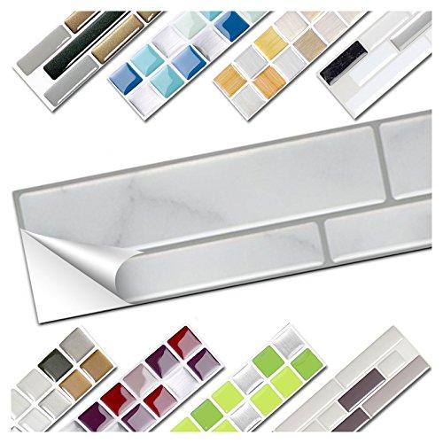 Wandora 1 Set Fliesenaufkleber 26 x 4,2 cm grau Marmor Silber dunkelgrau Ziegel Design 18 I 3D Mosaik Fliesenfolie Küche Bad Aufkleber W1536