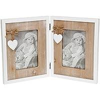 Shabby Chic Provence Heart Double Photo Frame