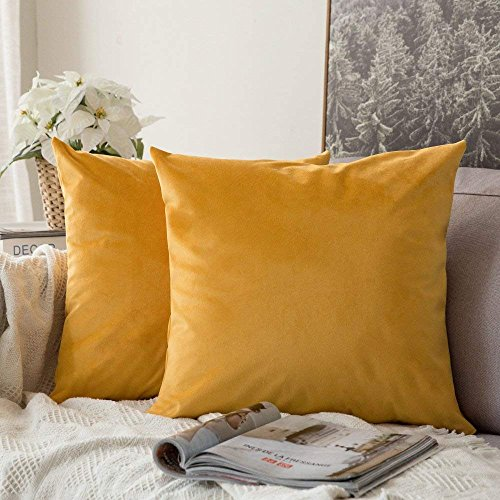 Khooti Velvet Cushion Cover, 24x24  Orange Yellow  Pack of 1