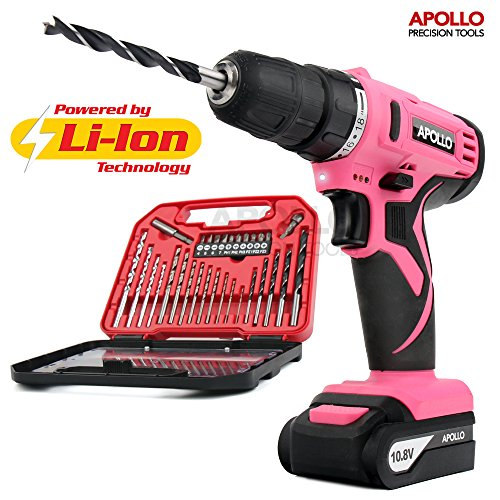 apollo-pink-108v-cordless-drill-driver-with-1500-mah-lithium-ion-battery-19-position-keyless-chuck-v