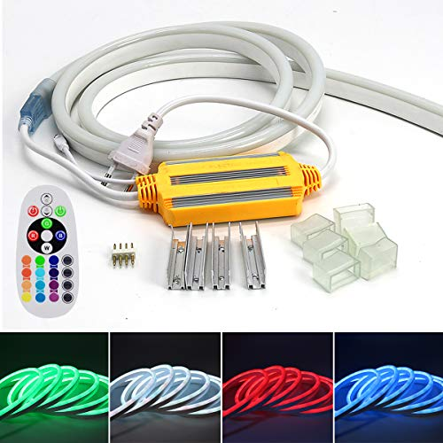 VAWAR 12m Neon Seil Strip, dimmbar RGB Farbwechsel flexibler LED Streifen, helle 5050 Lichtleiste, 220V - 240V LED Band, IP65 wasserdichte Lichtschlauch mit Trafo & 24-Tasten IR Fernbedienung (Seil-beleuchtung 12 Meter)