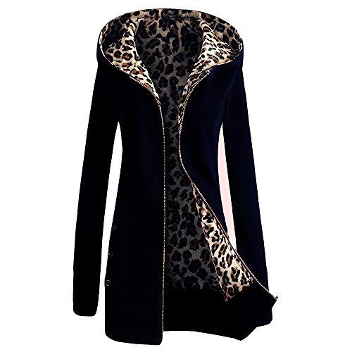 Perfectii Mujeres Sudadera con Capucha Sudadera con Capucha Leopardo Chaqueta Camisa Larga con Capucha Sudadera con Capucha Polar Zip Abrigo
