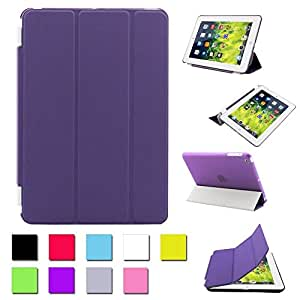 Besdata® For Apple iPad mini Magnetic Smart Cover Stand + Hard Back Case Free Stylus - Supreme Quality - Protects the Device - UK Stock - Purple - PT2505