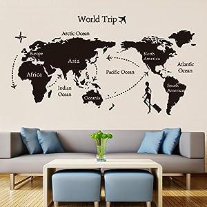 Weaeo Mundo Negro Viaje Mapa De Pared De Vinilo Pegatinas para Habitaciones Infantiles Decoracion Oficina Adhesivos Arte 3D Salón Dormitorio Decoración De Papel Tapiz