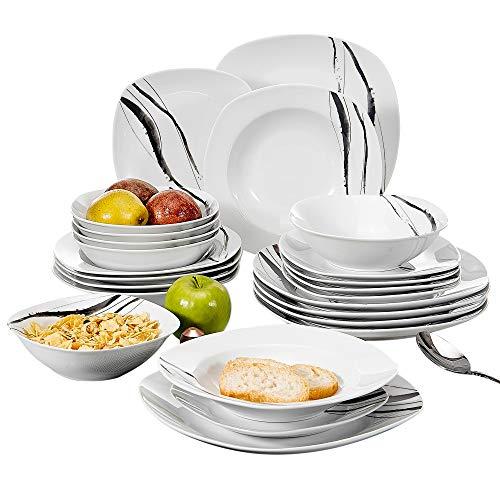VEWEET Tereasa Juegos de Vajillas 24 Piezas de Porcelana con 6 Cuencos de Cereales, 6 Platos, 6 Platos de Postre y 6 Platos Hondos para 6 Personas