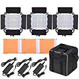 L-MEIQUN,LED-600A 3 X LED Kit Pannello Video Luce 576pcs LED Perline CRI90 + 5600K / 3200K con Barndoor/filtri/Borsa di stoccaggio(Size:Noi)