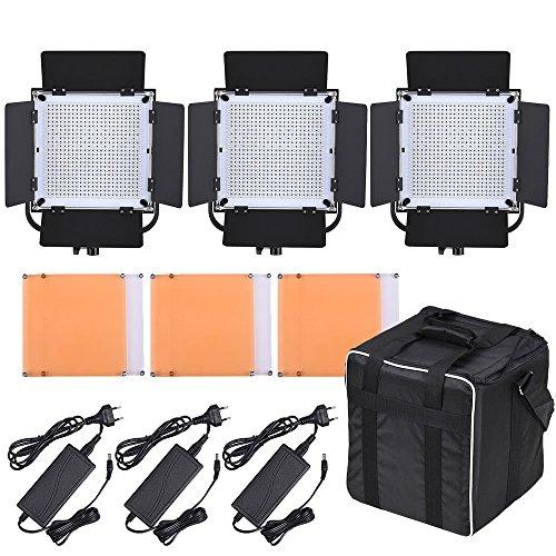 Zhuhaimei,LED-600A Kit LED-Videoleuchte 3X LED 576 LED CRI90 + 5600K / 3200K mit Barndoor/Filtro/Empfänger 1 Barndoor Kit