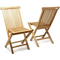 DIVERO 2er Set Klappstuhl Teakstuhl Gartenstuhl Teak Holz Stuhl Für  Terrasse Balkon Wintergarten Witterungsbeständig Behandelt