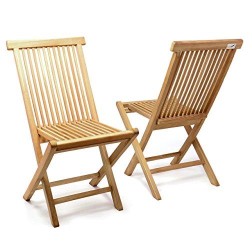 DIVERO 2er-Set Klappstuhl Teakstuhl Gartenstuhl Teak Holz Stuhl für Terrasse Balkon Wintergarten...