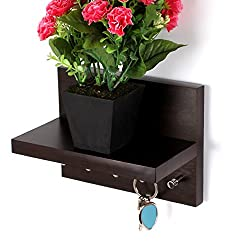 Regis Keyhold - Wall Mounted Key Holder / Key Rack Hooks with Décor Shelf - Skywood Wenge