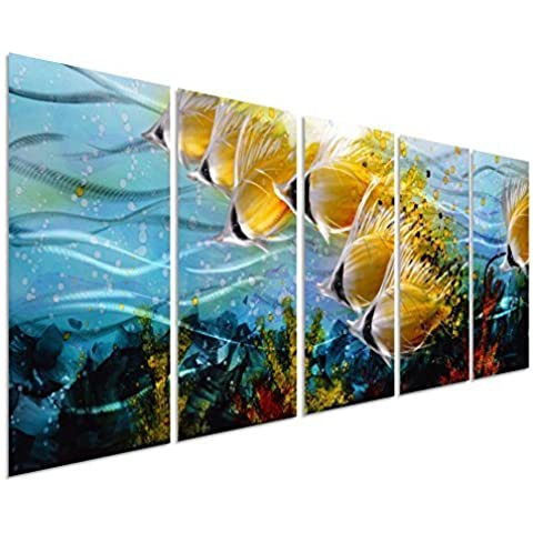 Camada de Peces Tropicales Arte Decorativo de Metal para Paredes - Juego de 5 Grandes Modernos Paneles de 64