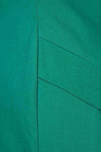 Roman Originals - Robe Moulante Bengaline Col Carré Flatteur Soirée Elégant Longueur Genoux Bureau - Tailles 38-50 - Vert Vert